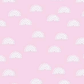 Sunshine and rainbows boho summer day scandinavian minimal nursery design white on orchid pink