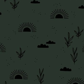 Sunrise morning sweet sun clouds and trees botanical boho garden fall forest green black