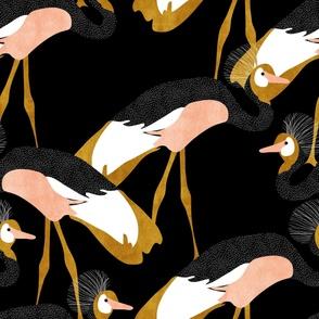 jumbo crowned cranes_black peach gold