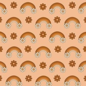 SMALL boho rainbow fabric - muted neutral fabric, daisy, floral