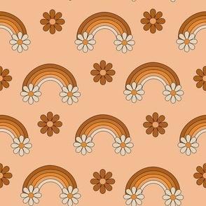 boho rainbow fabric - muted neutral fabric, daisy, floral