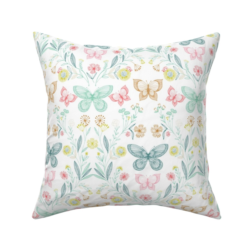 Catalan Throw Pillow featuring botanical butterflies by bethan_janine
