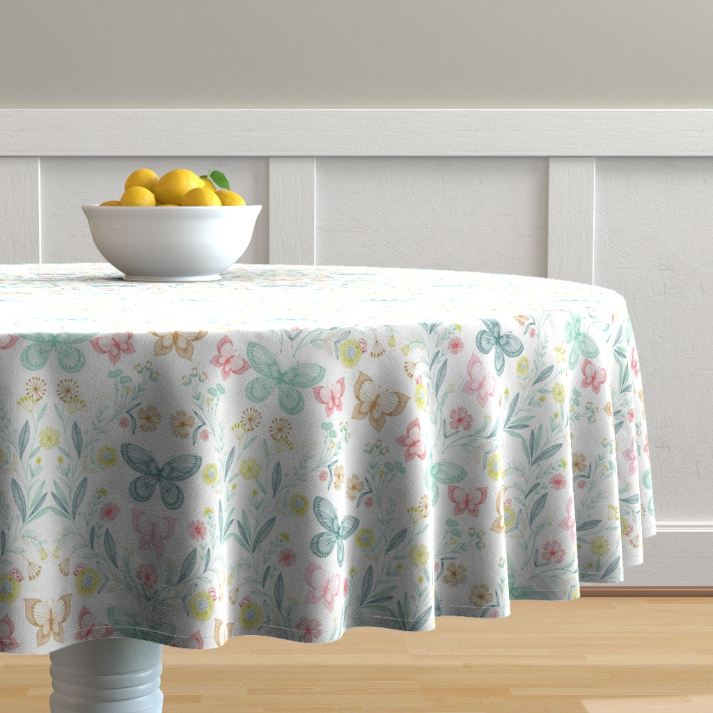 Malay Round Tablecloth featuring botanical butterflies by bethan_janine