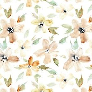 Mustard sweet bloom - watercolor tender florals - pastel loose flowers a364-1