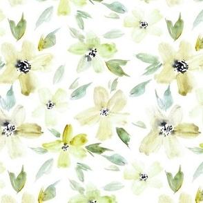 Citrine sweet bloom - watercolor tender florals - pastel loose flowers a364-2