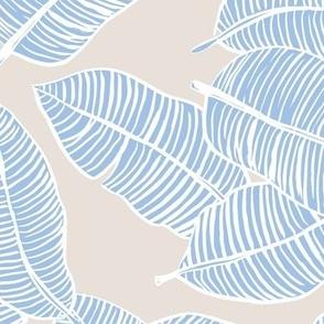 The messy jumbo banana leaf tropical boho leaves  jungle design for summer lavender blue on sand