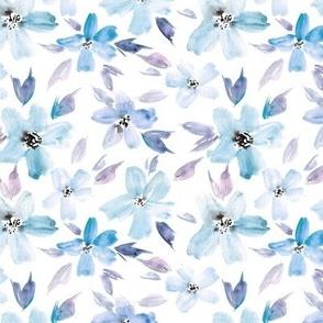 Baby blue sweet bloom - watercolor tender florals - pastel loose flowers a364-4