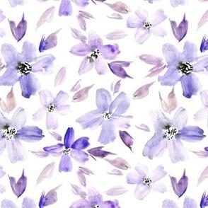Amethyst sweet bloom - watercolor tender florals - pastel loose flowers a364-5