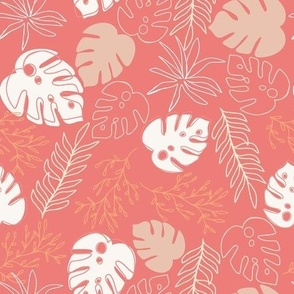 Jungle Leaves In Coral