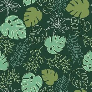 Jungle Leaves in  Dark Green
