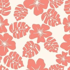Vintage Hibiscus -Coral