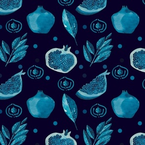 Blue pomegranates  on indigo