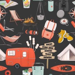 Camping in trailer adventure print