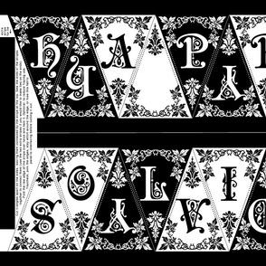 Gothic Happy Holidays Pennant Craft Panel (black/white)
