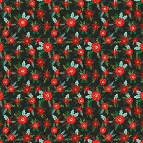 TINY christmas floral florals poinsettias christmas posy red and green christmas fabric fir tree