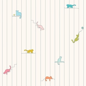 contour line pastel kitties
