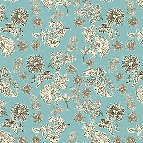 SummerLove turquoise illustrated flowers hand drawn flowers boho chic modern floral terriconraddesigns
