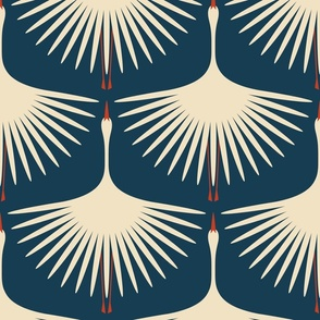 """Art Deco Swans - Navy/Soft Taupe - 12"""""""