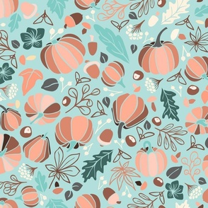 Fall Fruits on Teal-Larger