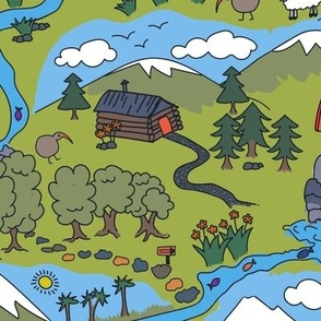 Take a Hike Kiwiana- perfect for playmats, home decor and home accessories