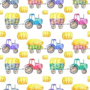 watercolor rainbow tractors