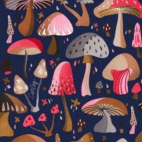 Mushroom Collection – Navy