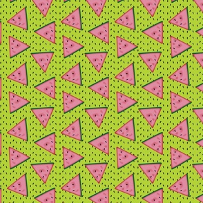 Watermelon - lime green background