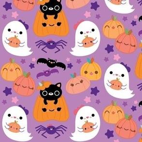 Cute Pumpkins & Ghosts Purple