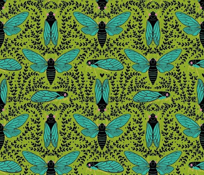 Retro cicadas - brood x - retro green