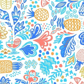 large-scale   pineapple summer vibes! - sky blue