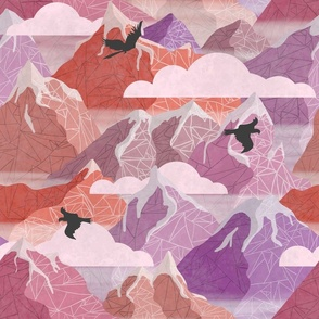 mountain hiking in the dusk  purpleorange