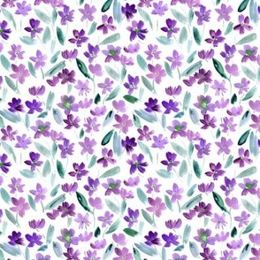 Violet ditsy watercolor pretty little flowers for summer vibes a365-2