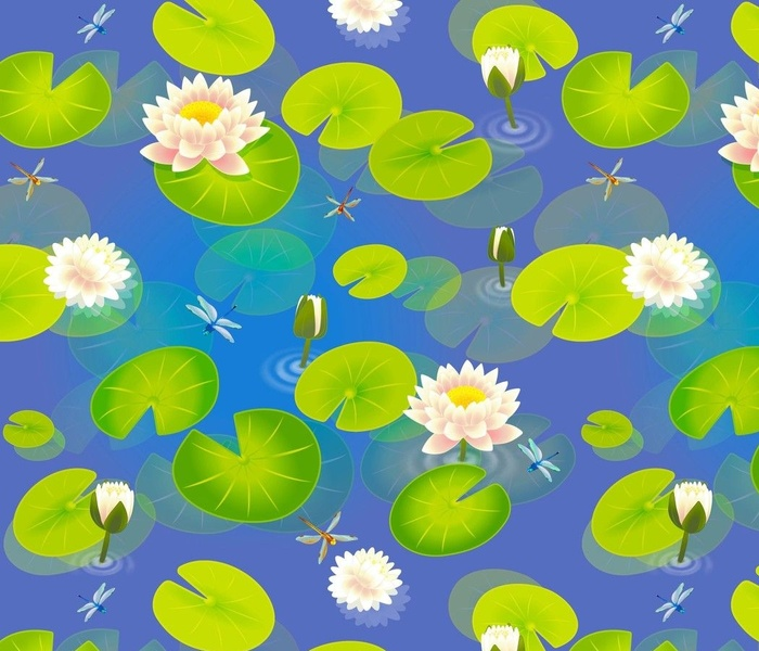 Water Lilies and Dragonflies