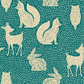 Owl bunny fox and deer in the snow teal