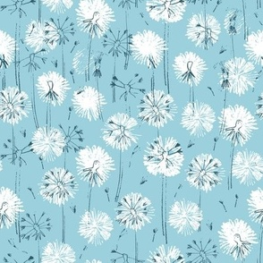 Walking through a dandelion field in the summer