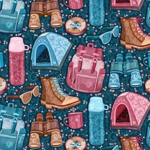 Camp Whimsy in Pink, Tan and Blue - large