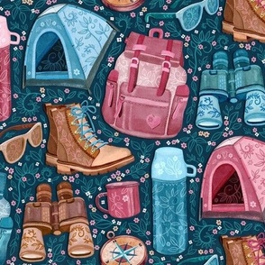Camp Whimsy in Pink, Tan and Blue - medium