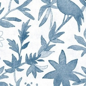 Forest Walk - First Light | Watercolor fabric, forest birds fabric, dawn chorus in inky blue and white from an original watercolor painting.