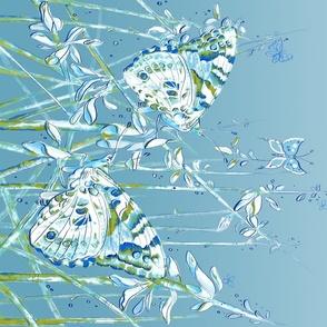 blue butterfly garden watercolor II sideways