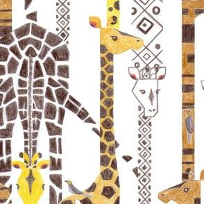 Giraffe Line-Up (Color Pencil)