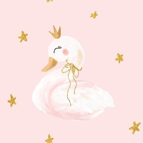 Swan on pink 10 inch