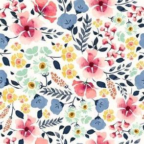 Modern watercolour florals in pastels