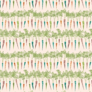 multicolored carrots on pale pink