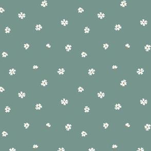 Delicate little white daisies sweet minimalist scandinavian style boho blossom flowers on sea green