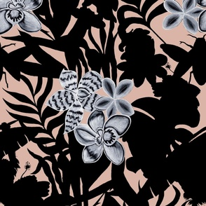 Jungle Orchid Black on Pink