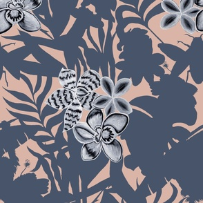 Jungle Orchid Pink on Blue