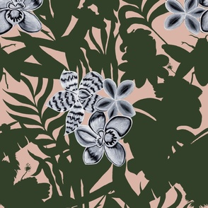 Jungle Orchid Green on Pink