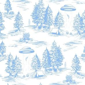 Large-Scale Light Blue Alien Abduction Toile de Jouy