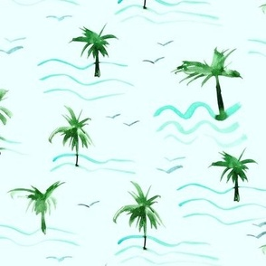 paradise ocean waves with palms and seagulls - watercolor summer sea beach vibes a372-5