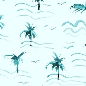 paradise ocean waves with palms and seagulls - watercolor summer sea beach vibes a372-6